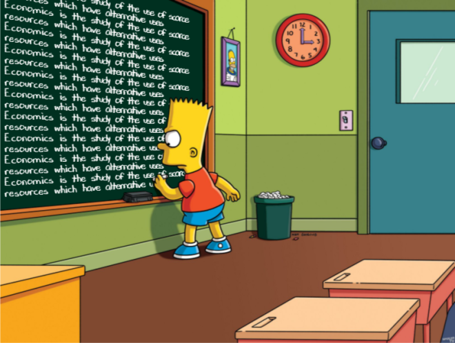 Bart Simpson defining economics on the chalkboard