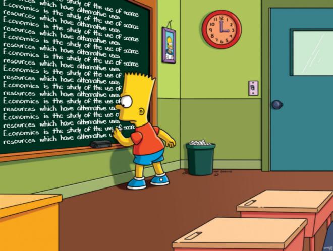 Bart Simpson defining economics on the chalkboard